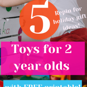 Stuck on what your 2 year old will REALLY play with? This top list of learning toys for 2 year olds is exactly what you need! Includes a FREE Kid's Restaurant Menu Printable for realistic play!