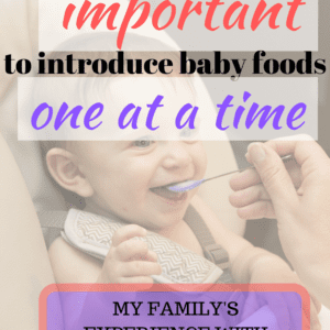Starting solids with your babies is an exciting time! But why is it recommended only one food at a time, and what are the risks? Read about my family's experience starting solids with our daughter, our experience with FPIES, and why we're so glad we followed the recommendations. #foodallergies #childallergies #startingsolids #parentingadvice