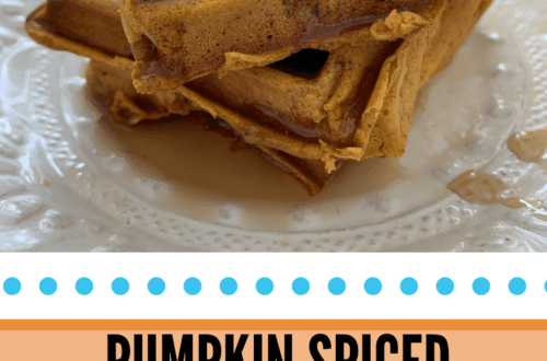 These pumpkin spiced waffles are an easy breakfast treat the family will love! Loaded with tons of pumpkin flavor, this fluffy, spiced waffle will warm you up as the weather gets cold!