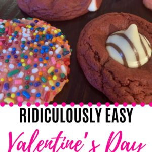 These Valentine's Day cookies are a ridiculously easy dessert recipe that is perfect to make with kids! There are endless flavor combinations, and they only require FOUR ingredients and 6 minutes to make! You'll love this Valentine's Day dessert recipe. #valentinesday #easydessert #dessertrecipe