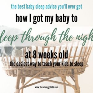 If you are trying to get your baby to sleep through the night - click this link! This post explains everything you need to know to get your baby on a good sleep schedule, with a consistent bedtime routine, and to sleep through the night without cry it out or intense sleep training. As a mom of two, take the advice my pediatrician gave me, and get your baby to sleep through the night with this easy tip!